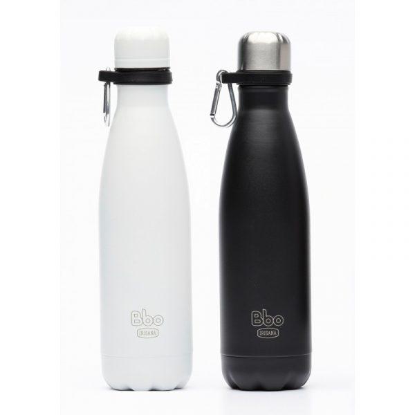 Botella termo reutilizable, 500 ml. Con mosquetón.