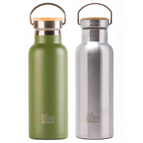 Botella termo reutilizable con tapón de bambú. 500 ml.
